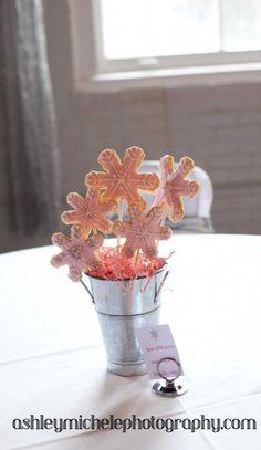 Winter Onederland Wonderland Girl Birthday Party Idea Cookie Bouquet