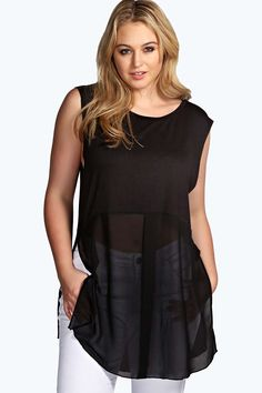 Paige Jersey Woven Mix Tunic in Plus Size at Boohoo.com
