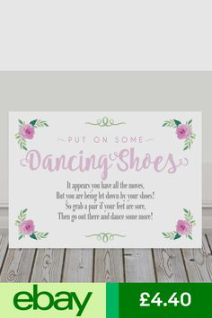 ba5ac145e Pink Dancing Shoes Wedding Flip Flop Sign Tired and Sore Feet Poem 3FOR2  (P10)