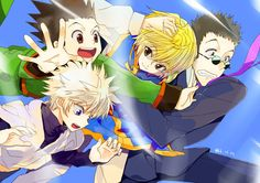 "Leorio- Why are we falling through the freaking sky????!!!?!?!? Killua- Where is this wind coming from? WHAT IS THIS SORCERY?!?!?!? Kurapika- I believe we are falling at a rate of 40 feet per second.... Gon is there a spider crawling on my back? Please tell me before we fall to our untimely deaths... Gon- YOSH! Hey guys I think this wind may save us last minute... so don't worry ^^"" maybe... I give you skydiving Hunter x Hunter characters :)"