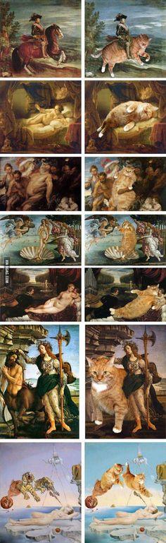 Cats,cats partout ...même dans les toiles des grands maîtres.