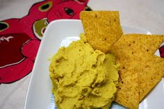 Lentil hummus is easy to make and such a pretty yellow from the turmeric in it!
