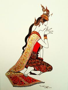 """The crying Benyakai"", watercolor on paper, by a Thai national artist Chakrabhand Posayakrit Thai Decor, Thai Pattern, Thailand Art, Myanmar Women, Thai Dress, Thai Art, Thai Style, Indian Paintings, Illustrations And Posters"