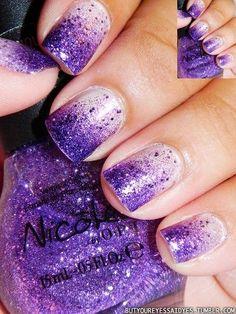 Purple glitter nails nails