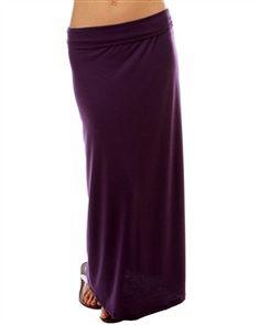 A Different Light Fold Down Plus Size Maxi Skirt: Purple
