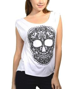 Love this Black & White Skull Tee on #zulily! #zulilyfinds