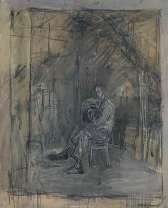 Alberto Giacometti - Homme assis - signed 'Alberto Giacometti' (lower right) - oil on canvas - 39 x 31 ¾ in. x cm. Alberto Giacometti, Giovanni Giacometti, Giacometti Paintings, Famous Art, Tour Eiffel, Cubism, Impressionist, Printmaking, Contemporary Art