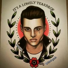 """""""It's just a lonely teardrop,"""" Johnny Depp as Crybaby, painting by @dinkyink on instagram"""