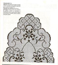 Crochet Table Runner Pattern, Crochet Doily Diagram, Filet Crochet Charts, Crochet Flower Patterns, Crochet Motif, Crochet Flowers, Crochet Cord, Crochet Dollies, Fillet Crochet