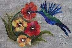 Flores com beija-flor (Tapete em tela de juta)