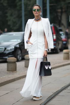 all white outfit with structured bag