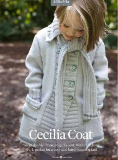 """Girls' Cecilia Coat"" - Coat Knitting Pattern For Girls in MillaMia Merino Wool. Discover more knitting patterns by MillaMia and shop all the yarn & craft materials you need at LoveCrafts! Knitting For Kids, Baby Knitting, Christmas Knitting Patterns, Coat Patterns, Mantel, Merino Wool, Crochet Top, Kids Outfits, Sweaters"