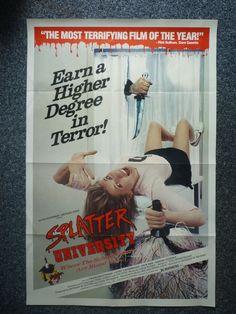 SPLATTER UNIVERSITY Original 1984 American One Sheet Horror Movie Poster