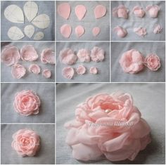 How to Make Beautiful Chiffon Rose (Master Class - Salvabrani Fabric flowers tutorial how to sew decorative fabric flowers Crafts Archives - Page 56 of 115 - DIY Tutorials Organza Flowers, Cloth Flowers, Felt Flowers, Diy Flowers, Paper Flowers, Satin Ribbon Roses, Making Fabric Flowers, Flower Making, Rolled Fabric Flowers