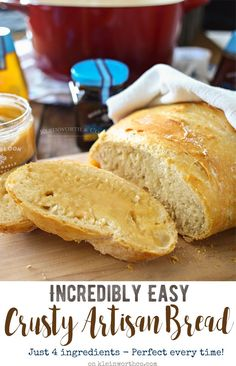 Incredibly Easy Crusty Artisan Bread is a simple, 4-ingredient homemade dutch…