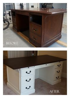 A $50 dated find on craigslist is transformed into a two-toned Pottery Barn-style executive desk