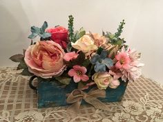 A Spring Teal and Rose Floral Arrangement, Mother's Day Gift, Wedding Centerpiece, Farmhouse Décor, Country Floral Centerpiece, Home Décor by SheilasHomeCreations on Etsy