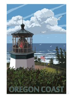 Lighthouse Scene - Oregon Coast Poster van Lantern Press bij AllPosters.nl