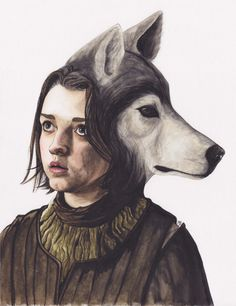 paulajbueno: Arya Stark and Nymeria the direwolf