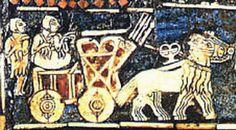 Estandarte palacio de Til Barsip,hecho en marfil  y lapislazuli. Asirios