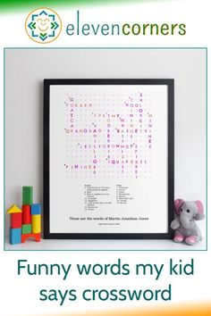Custom crossword of the funny words your kids say along with their meanings. You send us the words and meanings, we create the design and make the print. Unique family keepsake and personalised gift idea. #elevencorners #crosswords #funnywords #personalisedprints #giftideas Personalised Family Print, Personalized Wall Art, Family Wall Art, Online Gift, Grandparent Gifts, Crossword, Family Gifts, Grandparents, Funny Kids