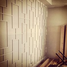 veranda interiors: Project Update: Altadore III - Awesome wall detail for a study Wall Trim, Remodel, Wooden Accent Wall, Home Remodeling, Veranda Interiors, Wall Design, Manufactured Home, Funky Home Decor, Manufactured Home Remodel