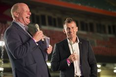 Nigel Owens and Phil Steele at the Opening Ceremony of the Golden Oldies rugby event in Cardiff 2016