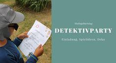 Detektivparty: Deko, Spiele, Rezepte und mehr - Lavendelblog Geheimagenten Party, Letter Board, Lettering, Birthday, Cover, Books, Prize Draw, Game Ideas, Invitation Cards