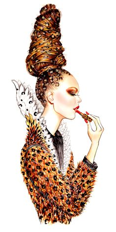 Lip Couture, fashion illustration inspired by Jean Paul Gaultier Fall 2013 Couture collection - illustration by Sunny Gu