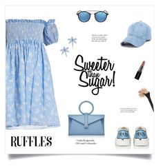 """Sweeter Than Sugar!"" by diane1234 ❤ liked on Polyvore featuring Miu Miu, Tory Burch, Prada, Ray-Ban, Smashbox, Complét, ruffles and whatafrill"