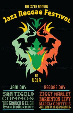 Proposed Poster for the 27th Annual Jazz Reggae Festival, UCLA. Designed by macadamia-cst.ie