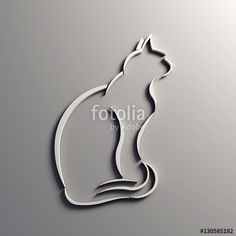 """Download the royalty-free photo """"Cat Silhouette in a White Wall. 3D Render Illustration"""" created by Fotolia365 at the lowest price on Fotolia.com. Browse our cheap image bank online to find the perfect stock photo for your marketing projects!"""