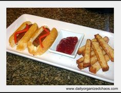 Fake Hot Dogs & Fries. Twinkie with larg tootsie roll & strawberry jam and sliced pound cake. :)