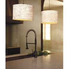 Ballard Designs- Maybe these pendant lights in burlap. Cheetah's nice but maybe too crazy for the kitchen?