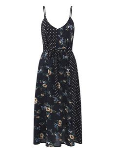 OEUVRE Sexy Women Spaghetti Strap Printed V-neck Mid-long Dress