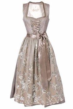 Wundervolles Midi Dirndl von Tramontana, was auch als Hochzeitsdirndl oder Brautdirndl bei der Trachtenhochzeit Einsatz findet in schönem taupe und... Elegant, Victorian, Wedding, Dresses, October, Mini, Outfits, Fashion, Pink