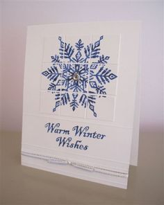 Winter Snowflake Card by LaLatty - like the way the image has been cut and turned into a nine patch ...