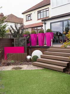 The upper terrace and lower garden are made safe with the addition of a row of planters. If you live in Essex or London and are looking to have your garden re-designed in 2018 please get in touch Glass Planter, Planters, Leigh On Sea, Earth Design, Landscaping Jobs, Garden Living, Composite Decking, Garden Pots, Garden Inspiration