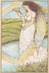 """Iris goddess of the rainbow is portrayed as a rainbow or a goddess with golden wings on her shoulders. She carries a winged staff or a caduceus (short herald's staff entwined by two serpents and surrounded by wings). She has been described as """"swift-footed like a storm wind""""."""