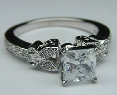 Princess Diamond Butterfly Vintage Engagement Ring