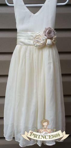 Ivory chiffon flower girl dress, ivory flower girl dress, chiffon dress, chiffon girls dress, flower girl dress, flower girl dress ivory,