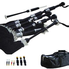 Black Painted Rosewood Bagpipe with Engraved Nickle Mounts