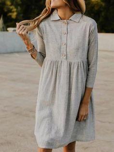 Solid Lapel Seven Sleeves Midi Dress - Plus Size Casual Dresses - Ideas of Plus Size Casual Dresses Robes Midi, Casual Dresses, Elegant Dresses, Sexy Dresses, Midi Dresses, Shift Dresses, Formal Dresses, Wedding Dresses, Pretty Dresses
