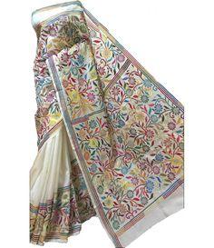 Multicolor Kantha Silk Stitch Saree