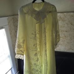 Vintage Princess/Lolita Gown with Lace and Ruffles Excellent Vintage Condition, No Tear, No Wear, No Hole, In Like New Shape. Bought this in a really overpriced vintage store, and now I'm in need of money sadly I have to let it go. I'm 5'6 and it hits right at my ankles. Under layer = pale yellow, over layer = white, ruffles = light cream. Gorgeous piece. Odette Barsa Dresses Maxi