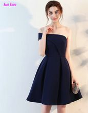 Junoesque Dark Navy Cocktail Dresses 2017 New Sexy One-Shoulder Satin A-Line Knee-Lingth Graduation Dress Short Prom Party Gowns(China (Mainland))