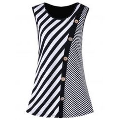 Plus Size Button Embellished Striped Tank Top – Black White Rosewholesale welcomes customers worldwide, offering them best customer service and large collection of high quality products at cheap price. Striped Tank Top, Black Tank Tops, Striped Dress, Dress Black, Dress Red, Trendy Dresses, Nice Dresses, Fashion Dresses, Plus Size Pullover