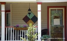 Quilt-like metal tile art brightens this front porch in Maryville TN