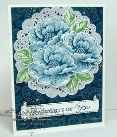 Stamp Sets: Stipples Blossoms, Apothecary Art, Loving Thoughts Papers: Whisper White CS, and Print Poetry DSP Inks: Midnight Muse and Garden Green. Accessories: Stampin' Dimensionals, Paper Snips.