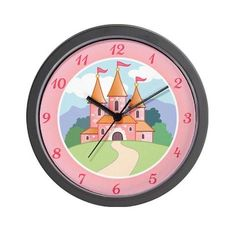 """Fairytale Princess Castle Wall Art Clock 10"""" by Big Brother / Sister and New Baby Gifts. $18.00. Decorate any room in your home or office with our 10 inch wall clock. Black plastic case. Requires 1 AA battery (included)."""